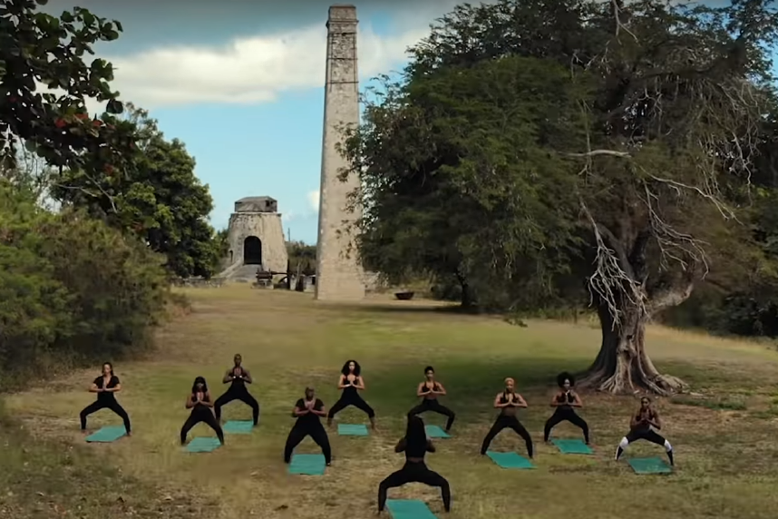 black women doing yoga, st. croix, noir wellness spa video screen shot